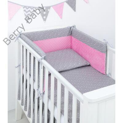 Selymes rózsaszín minky+szürke masnis babaágynemű szett (BŐVÍTHETŐ ... 601b439228