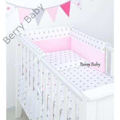 Berry Baby Selymes babarózsaszín minky+fehér csillagos babaágynemű szett (BŐVÍTHETŐ)