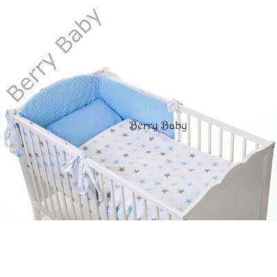 Selymes kék színű minky+ türkiz-szürke csillagos babaágynemű szett  (BŐVÍTHETŐ) 00527bad53