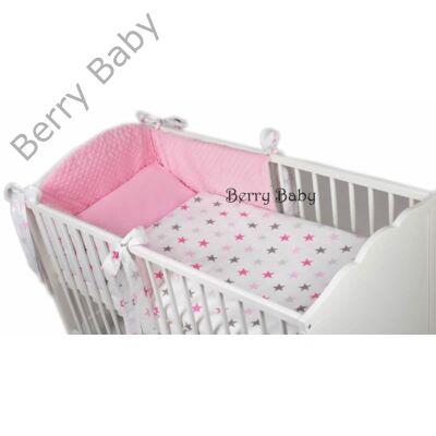 Berry Baby Selymes málna rózsaszín színű minky+ pink-szürke csillagos babaágynemű szett (BŐVÍTHETŐ)