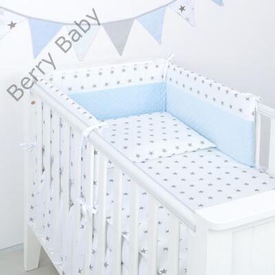 Selymes kék színű minky+fehér csillagos babaágynemű szett (BŐVÍTHETŐ ... 48bc587658