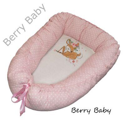 Rózsaszín pöttyös Bambi babafészek