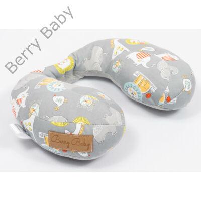 Berry Baby nyakpárna-utazópárna: szürke szafaris hurkolt pamut
