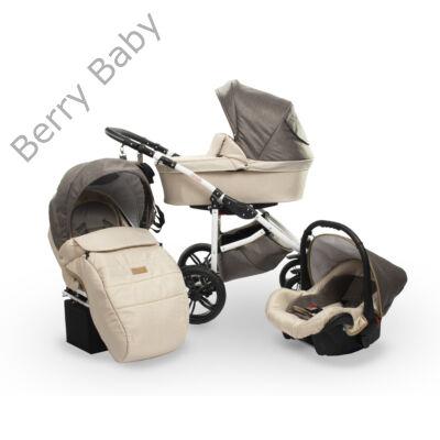Berry Baby DIMATEO ALU 3in1 babakocsi szett (autós hordozóval és adapterrel!): Bézs-barna