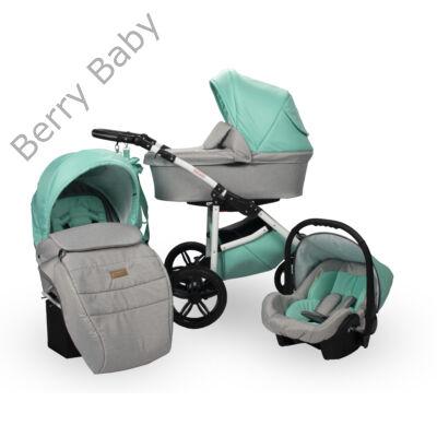 Berry Baby DIMATEO ALU 3in1 babakocsi szett (autós hordozóval és adapterrel!): Menta szürke