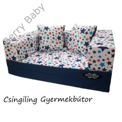 Berry Baby DIAMOND szivacs kanapéágy és hempergő, felnőtt méretben:  Sötétkék - Blue Stars