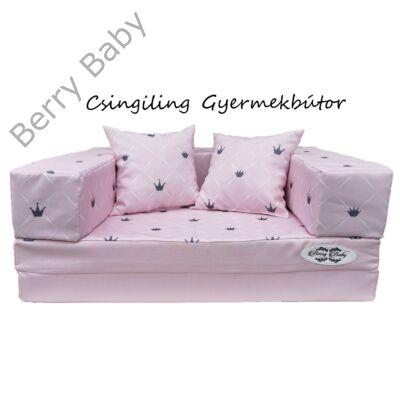 Berry Baby DIAMOND szivacs kanapéágy és hempergő, gyerek méretben:  Rózsaszín - rózsaszín Chesterfield