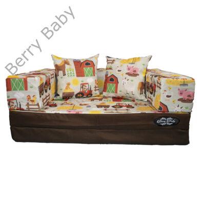 Berry Baby DIAMOND szivacs kanapéágy és hempergő, gyerek méretben: Csokibarna - Farm