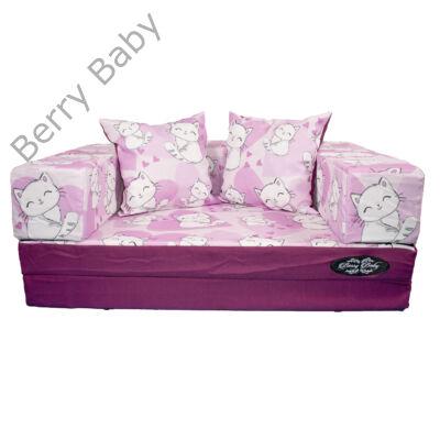 Berry Baby DIAMOND szivacs kanapéágy és hempergő, gyerek méretben: Orchidea - Sweet Kitty