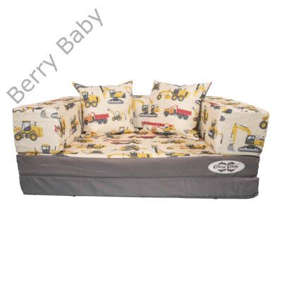 Berry Baby DIAMOND szivacs kanapéágy és hempergő, felnőtt méretben: Szürke - Trucks