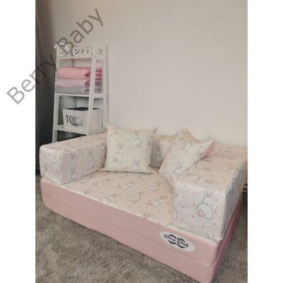 Berry Baby DIAMOND szivacs kanapéágy és hempergő, gyerek méretben:  Rózsaszín - Sweet Bunny