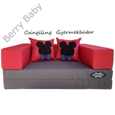 Berry Baby SUNSHINE szivacs kanapéágy és hempergő, gyerek méretben: Grafit lapok - piros karfa (Minnie vagy Minnie fantázia díszpárnákkal is kérhető)