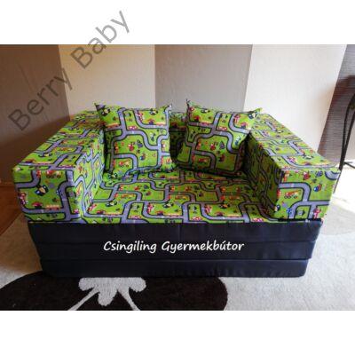 Berry Baby SUNSHINE szivacs kanapéágy és hempergő, felnőtt méretben:  Grafit - zöld kisautós