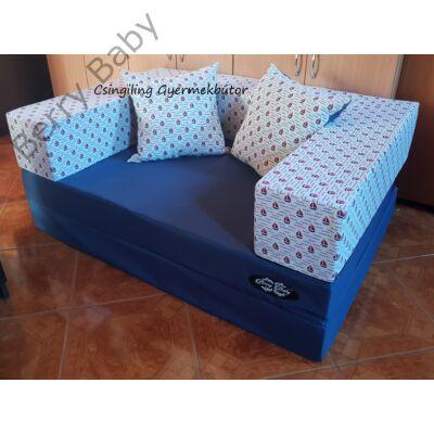 Berry Baby SUNSHINE szivacs kanapéágy és hempergő, felnőtt méretben: Sötétkék lapok - apró vitorlás karfa