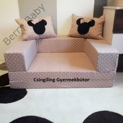 Berry Baby SUNSHINE szivacs kanapéágy és hempergő, felnőtt méretben: Kávé pöttyös (Minnie vagy Mickey fantázia díszpárnákkal is kérhető)