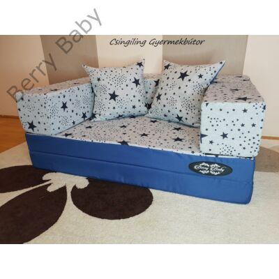 Berry Baby SUNSHINE szivacs kanapéágy és hempergő, felnőtt méretben: Királykék - kék csillagos