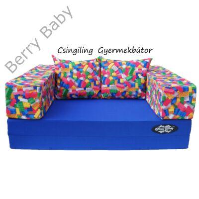 Berry Baby SUNSHINE szivacs kanapéágy és hempergő, felnőtt méretben:  Királykék lapok - legós karfa