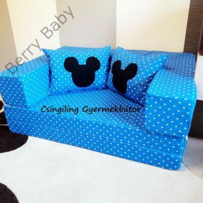 Berry Baby SUNSHINE szivacs kanapéágy és hempergő, felnőtt méretben: Türkizkék pöttyös (Mickey fantázia díszpárnákkal is kérhető)
