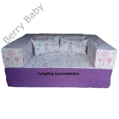 Berry Baby SUNSHINE szivacs kanapéágy és hempergő, gyerek méretben: Milka lila - Little Princess
