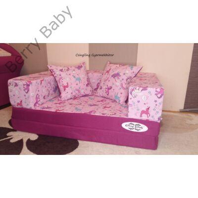 Berry Baby SUNSHINE szivacs kanapéágy és hempergő, gyerek méretben: Orchidea - lila pónis