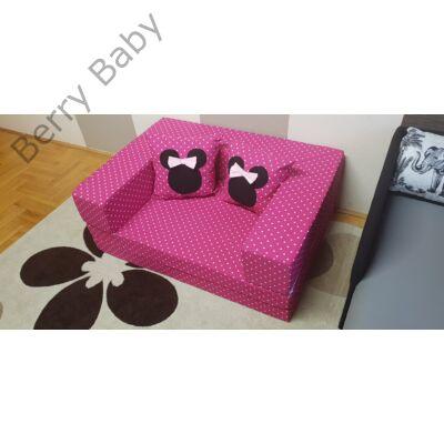 Berry Baby SUNSHINE szivacs kanapéágy és hempergő, gyerek méretben: Pink pöttyös (Minnie fantázia díszpárnákkal is kérhető)