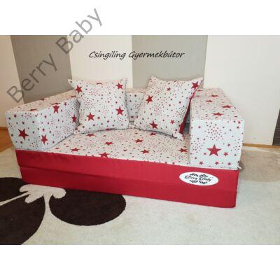 Berry Baby SUNSHINE szivacs kanapéágy és hempergő, felnőtt méretben:  Piros - piros csillagos