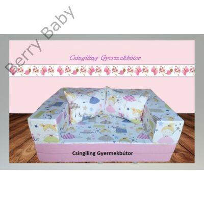 Berry Baby SUNSHINE szivacs kanapéágy és hempergő, gyerek méretben: Puncs - Tündéres