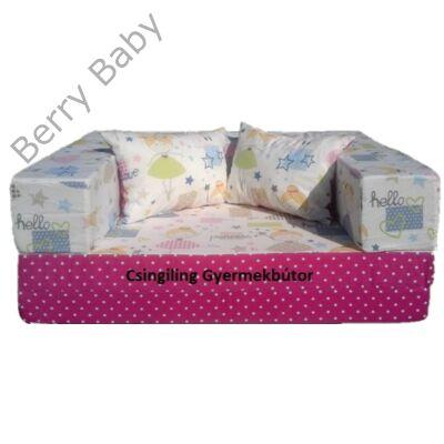 Berry Baby SUNSHINE szivacs kanapéágy és hempergő, gyerek méretben: Pink pöttyös - Tündéres