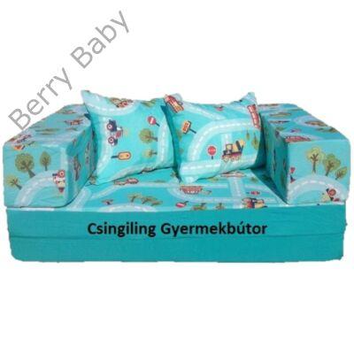 Berry Baby SUNSHINE szivacs kanapéágy és hempergő, gyerek méretben: Türkiz - türkiz kisautós
