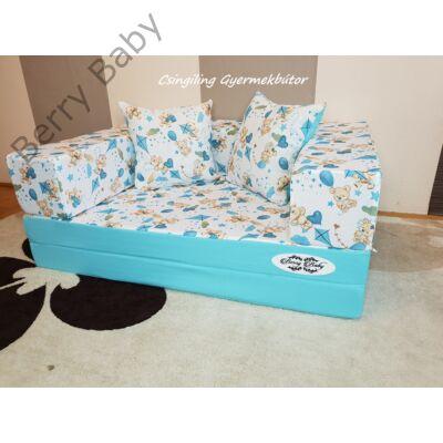 Berry Baby SUNSHINE szivacs kanapéágy és hempergő, gyerek méretben: Türkizkék - kék macis