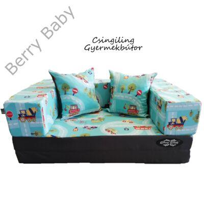Berry Baby SUNSHINE szivacs kanapéágy és hempergő, felnőtt méretben: Grafit - türkiz kisautós