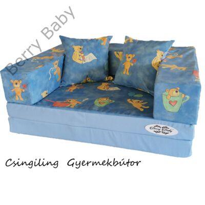 Berry Baby SUNSHINE szivacs kanapéágy és hempergő, gyerek méretben: Világoskék - kék macis mikroplüss