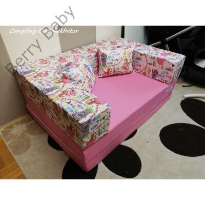 Berry Baby SUNSHINE szivacs kanapéágy és hempergő, felnőtt méretben: Puncs lapok - hintázó kislány karfa