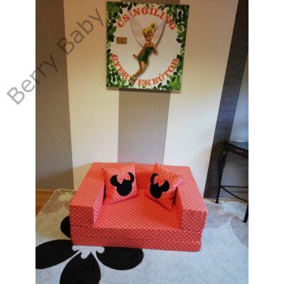 Berry Baby SUNSHINE szivacs kanapéágy és hempergő, felnőtt méretben: Narancs pöttyös (Minnie fantázia díszpárnákkal is kérhető)