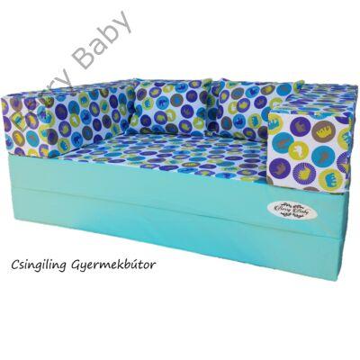 Berry Baby WEXTRA szivacs kanapéágy és hempergő, felnőtt méretben: Menta - kék elefántos