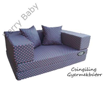 Berry Baby WEXTRA szivacs kanapéágy és hempergő, felnőtt méretben: Szürke alapon rózsaszín pöttyös