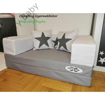 Berry Baby WEXTRA szivacs kanapéágy és hempergő, felnőtt méretben: STARS szürke lapok, fehér karfa grafit csillaggal, grafit csillagos párna