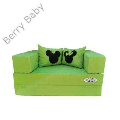 Berry Baby WEXTRA szivacs kanapéágy és hempergő, felnőtt méretben: Pisztácia (Mickey vagy Minnie fantázia díszpárnákkal is kérhető)