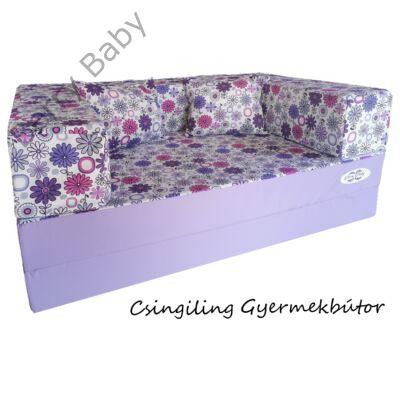 Berry Baby WEXTRA szivacs kanapéágy és hempergő, gyerek méretben: Lila - lila virágos