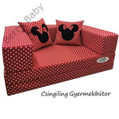 Berry Baby WEXTRA szivacs kanapéágy és hempergő, gyerek méretben: Piros alapon fehér pöttyös (Minnie fantázia díszpárnákkal is kérhető)