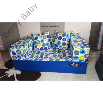 Berry Baby WEXTRA szivacs kanapéágy és hempergő, felnőtt méretben: Királykék - kék elefántos