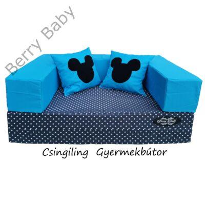 Berry Baby WEXTRA szivacs kanapéágy és hempergő, felnőtt méretben: Szürke pöttyös lapok - türkizkék karfa  (türkizkék Mickey fantázia párnákkal is kérhető)
