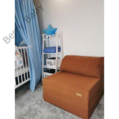 Berry Baby kihajtható szivacs pótágy/fotelágy ifjúsági méretben: Maci barna - 7 választható párnával