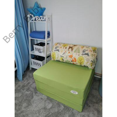 Berry Baby kihajtható szivacs pótágy/fotelágy ifjúsági méretben: Pisztácia - 6 választható párnával