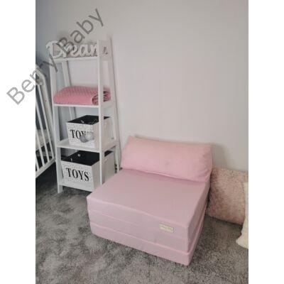 Berry Baby kihajtható szivacs pótágy/fotelágy ifjúsági méretben: Púder rózsaszín - 12 választható párnával