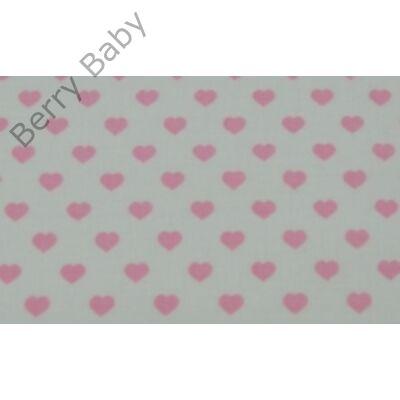 Berry Baby Töltött lepedő szabvány EU bölcsődei és óvodai gyermekágyra: Fehér alapon rózsaszín szíves