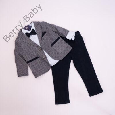 3 részes alkalmi öltöny szett kisfiú- 80-86 -grafit