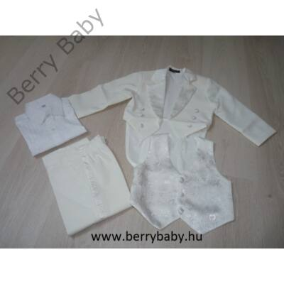 5 részes alkalmi öltöny szett kisfiú- 2 éves -hófehér frakk