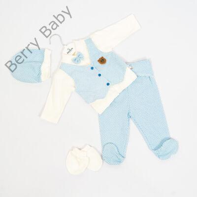 5 részes alkalmi szett kisfiú- 62-es: Kék- fehér