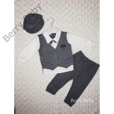 2a158bbfa4 3 részes alkalmi öltöny szett kisfiú- 62-es: szürke mellényes ...